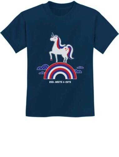 Red White /& Cute 4th of July USA Unicorn Youth Kids T-Shirt American