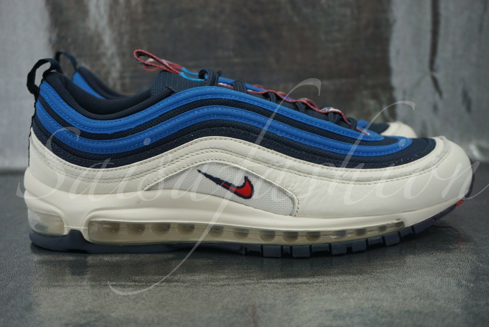 6dc3b0f0fd Nike Air Max 97 SE Pull Tab Obsidian University Red Sail Aq4126 400 ...