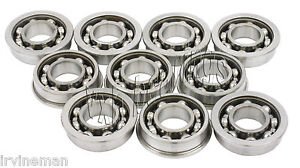 "10 Slot Car Flanged Open 3/32""x3/16"" inch Miniature Ball Bearings"