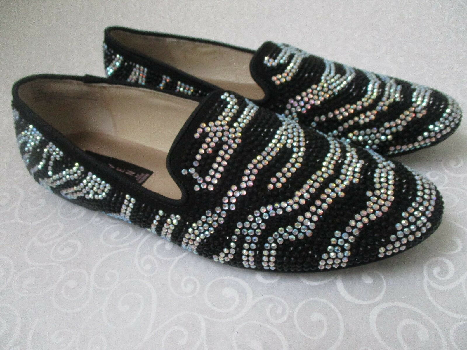 99 STEVEN BY STEVE MADDEN ZEBRA RHINESTONE FLATS Schuhe SIZE 11 M - NEU