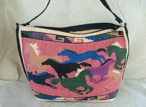 Purse Turn /'em Loose Colorful Horses Cotton With Zipper Shoulder Length Strap