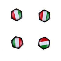 Black Car Air Valve Stems Caps Wheel Tire Dust Cover Italian Flag For Vw Benz