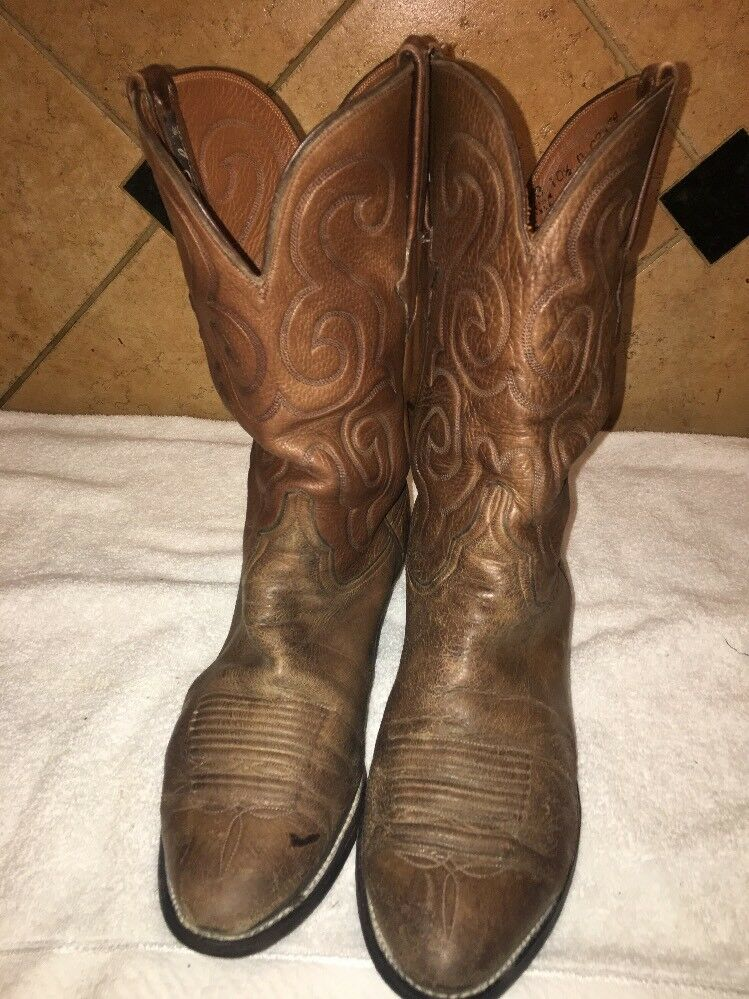 Lucchese Brown Pelle Cowboy Western Stivali Size 10 1/2 D