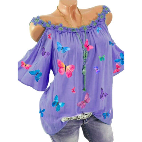 WomenS Cold Shoulder Tops Floral Summer T Shirt Casual Loose Short Sleeve Blouse