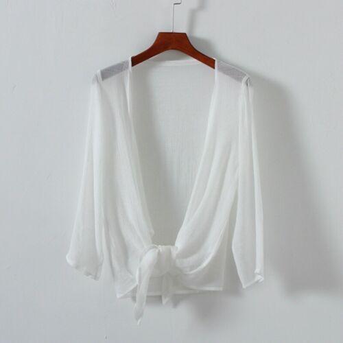 Women Chiffon Blouse Crop Top Long Sleeve Sheer Front Bow Tie Long Sleeves