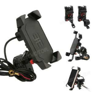 Universal-Motorcycle-Bike-ATV-4-034-6-034-Cell-Phone-GPS-Mount-Holder-w-USB-Charger
