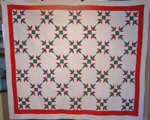 ANTIQUE-CHRISTMAS-CACTUS-QUILT-C-1930-FABULOUS-QUILT-ONE-OF-A-PAIR-i-HAVE-LISTED