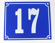 """ALLUMINIO numero civico"""" 17"""" 12x10cm Blu Casa Targa immediatamente disponibile SCUDO"""