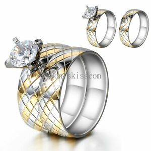Image Is Loading Round Cubic Zirconia Stainless Steel Engagement Wedding Band
