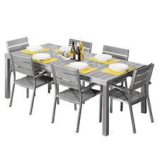 Set pranzo giardino in alluminio e polywood tavolo allungabile 200 cm + 6 sedie