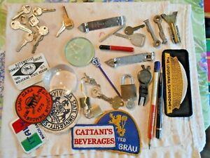 Mens Junk Drawer Lot. Jewlery, pipe tools, knives, mini-razor, buckles, keys,
