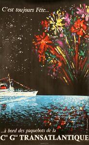 1950-S-Vintage-Poster-Bouvard-EN-MER-bateau-de-croisiere-Feux-d-039-artifice-de-Fete-1956