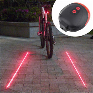 2-Laser-5-LED-Rear-Bike-Bicycle-Tail-Light-Kit-Beam-Safety-Warning-Red-Lamp-GOOD