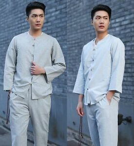 gray Handsome Chinese style Summer Men s Linen Kung Fu suit Clothes ... f1a8cd43b