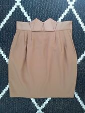 H&M TREND BEIGE NUDE GROSGRAIN RIBBON ORIGAMI HIGH WAISTED MINI SKIRT 34 6 8