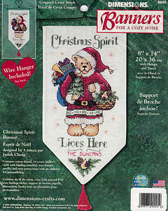 Dimensions banners counted cross stitch kit christmas spirit santa