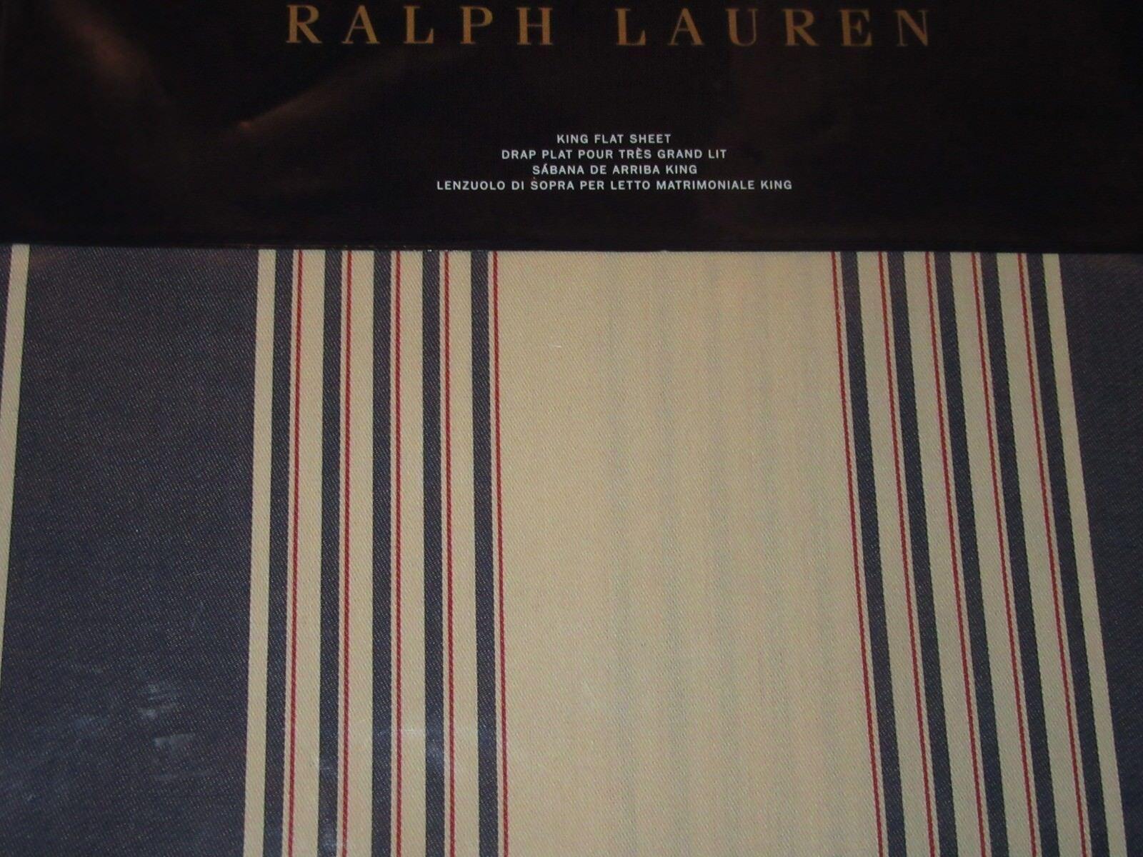 Ralph Lauren Saranac Peak Cotton KING Flat Sheet Corbet Striped bluee Red Cream