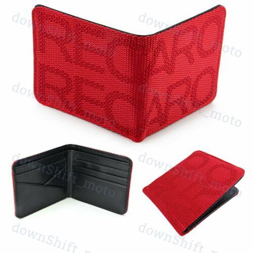 Red Custom Stitched Fabric Wallet Bifold Leather Seat Gradation RECARO Racing