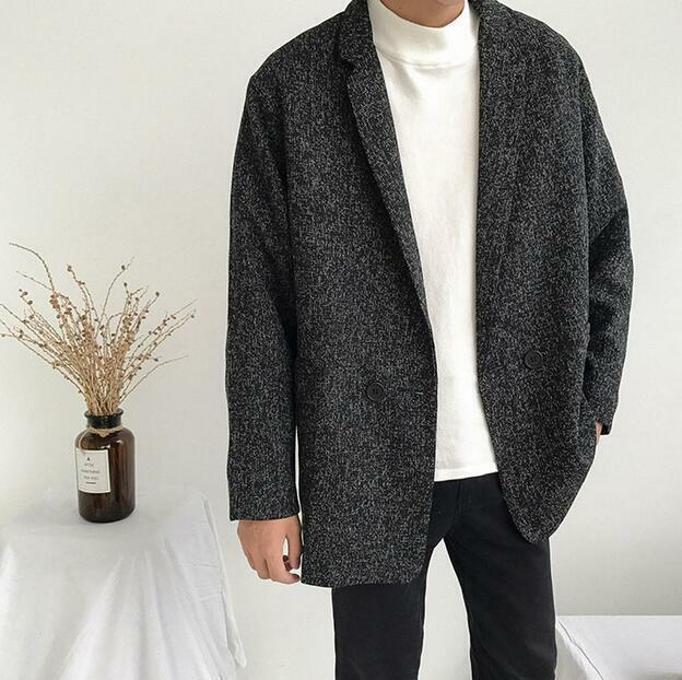 Mens Casual Cotton Linen Overcoats Lapel Outwears Korean Students Coat Loose