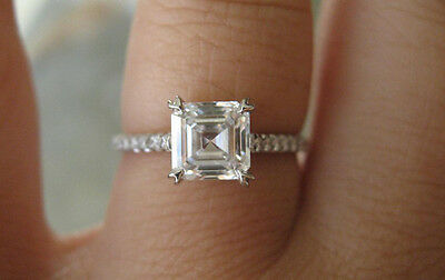 1.30 Ct. Natural Asscher Cut Pave Diamond Engagement Ring - GIA Certified