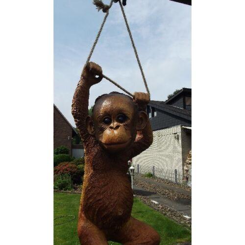 Gartenfigur Affe am Seil 2963 Orang Utan Haus Garten Deko lebensecht Figur
