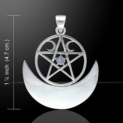 Moon Phase Pentacle Reversible .925 Sterling Silver Pendant Gemstone Peter Stone