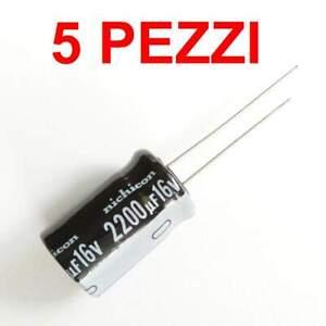5pz condensatore elettrolitico 2200uf 16v Sanyo 20x10mm 105°C