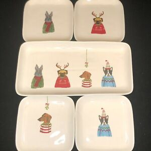 Rae-Dunn-by-Magenta-2017-Set-of-4-Christmas-Dog-Square-Plates-Serving-Platter