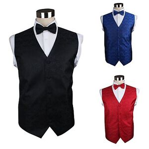 MENS-PAISLEY-VEST-WAISTCOAT-amp-BOW-TIE-SET-WEDDING-TUXEDO-BLACK-RED-BLUE-SILVER