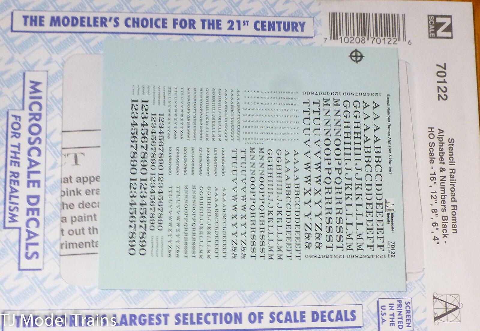 Microscale Decal #90122 Stencil Railroad Roman Alphabet /& Numbers Black