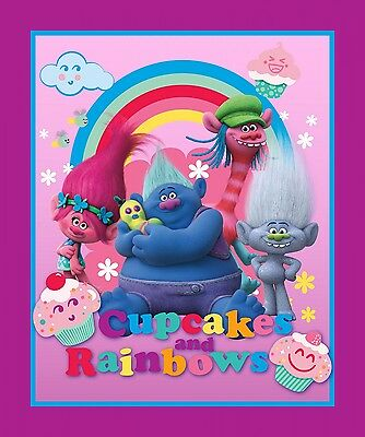 "New Trolls Cupcakes & Rainbows Characters 100% cotton 43"" Fabric by the panel"