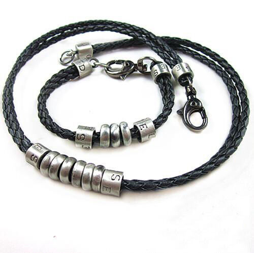 Alloy Rings Pendant Necklace Bracelet Set Mens Punk Choker Braided Leather Rope
