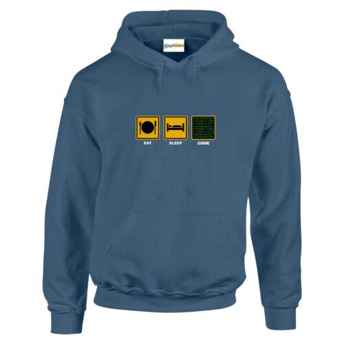 Eat Sleep CODE Programmer Coding Hacker PC  Funny HOODIE Sweats Gift up to 5XL