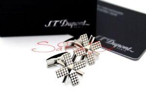 S-T-Dupont-Diamond-Head-Manschettenknoepfe-Cufflinks-Stern-Palladium-Neu