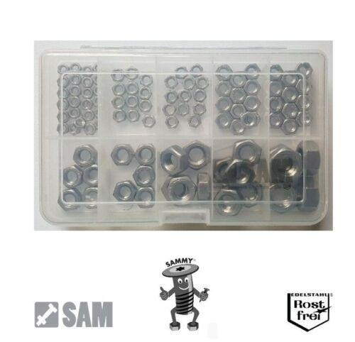 Sechskantmuttern mit LINKSGEWINDE DIN 934 100 Teile Set EDELSTAHL A2 M4-M12