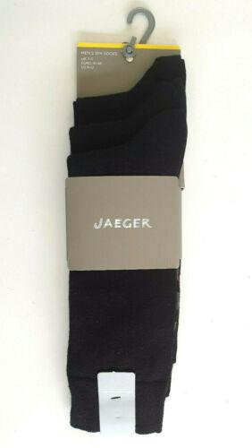Jaeger Chaussettes Homme Pack de 3 Noir Formelle Coton Riche Taille 7-11 Brit neuf emballé