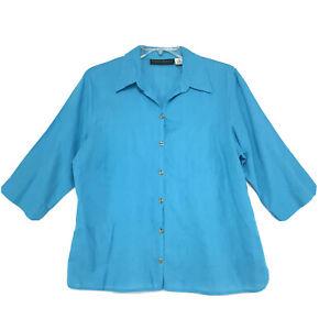Harve-Benard-Linen-Blend-Shirt-Womens-Size-1X-Green-Blue-3-4-Sleeve