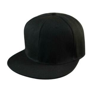 Unisex-Men-039-s-Hip-Hop-adjustable-Snapback-Hats-Baseball-Cap-Black