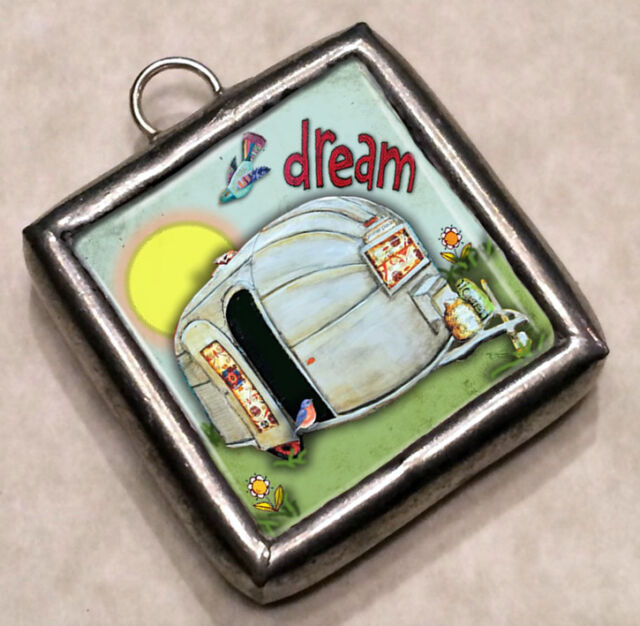Dream - Live Life Joyfully Camper Necklace Pendant Charm by IMCC add on Plunder