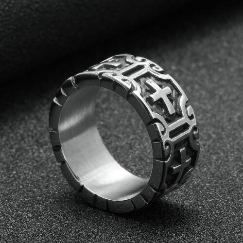 Mens Stainless Steel Knight Templar Biker Motorcycle Rings Punk Cross Ring Xmas