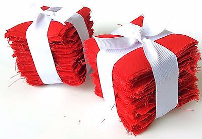 "200 Pure Red Moda Bella Solid precut mini charm pack 2.5"" squares quilt fabric"