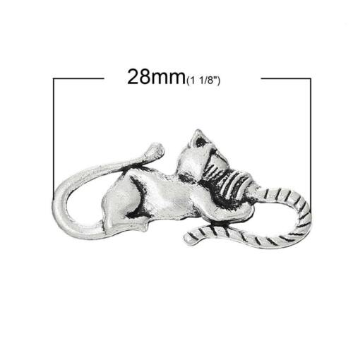 4 Antique Silver Cat Charms Connector Links Hooks Clasps QUALITY 28mm