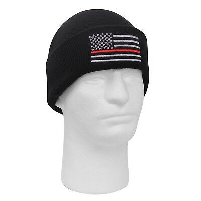 4236f66a3eaf8 Thin Red Line Knit Hat Cuff Watch Cap Beanie Firefigher Support US American  Flag