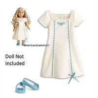 American Girl Caroline Nightgown For 18'' Dolls Slippers Sleepwear Pajamas