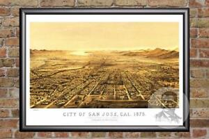 Vintage-San-Jose-CA-Map-1875-Historic-California-Art-Old-Victorian-Industrial