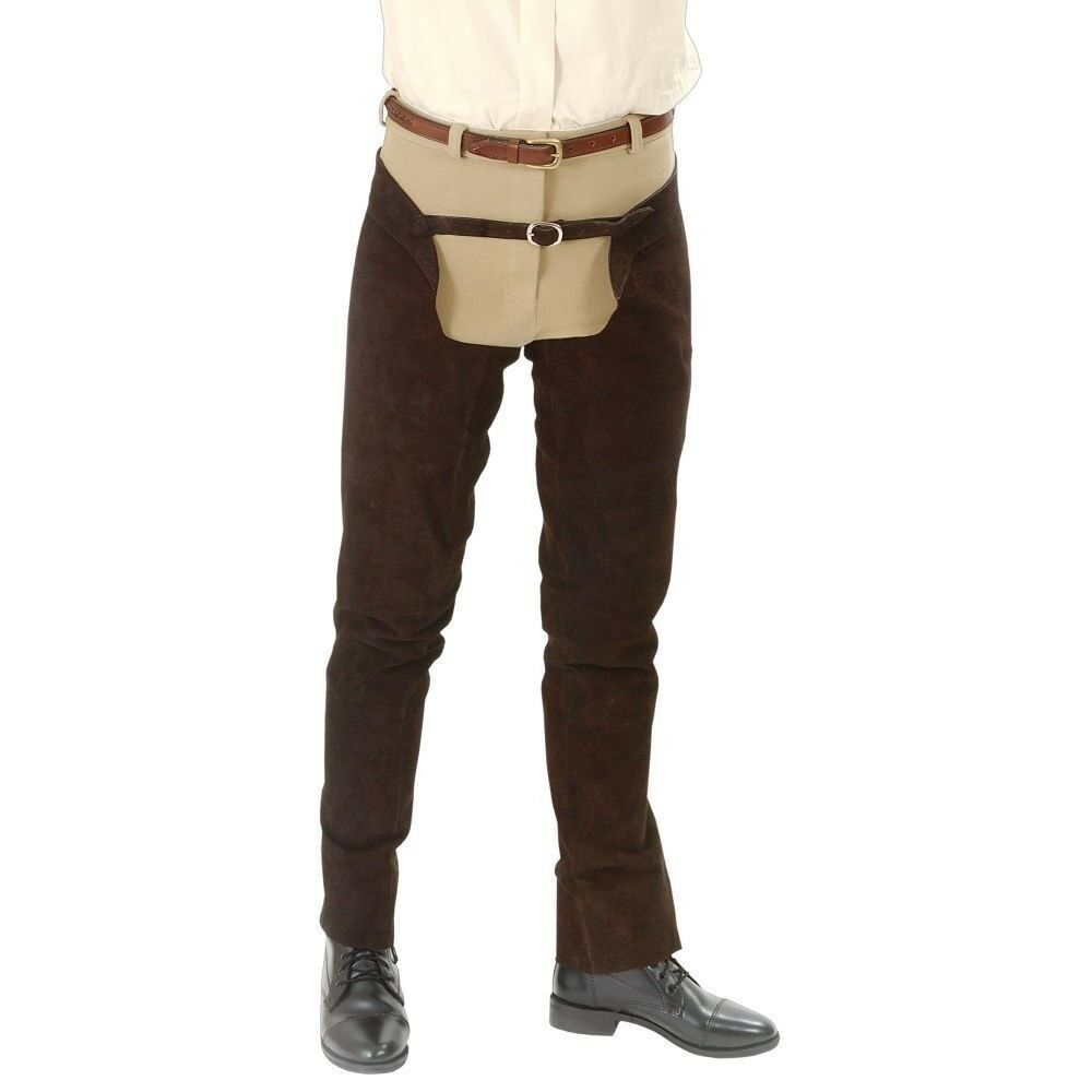 Tough1 Suede Leather Schooling Chaps with Full Length Heavy Duty Zipper