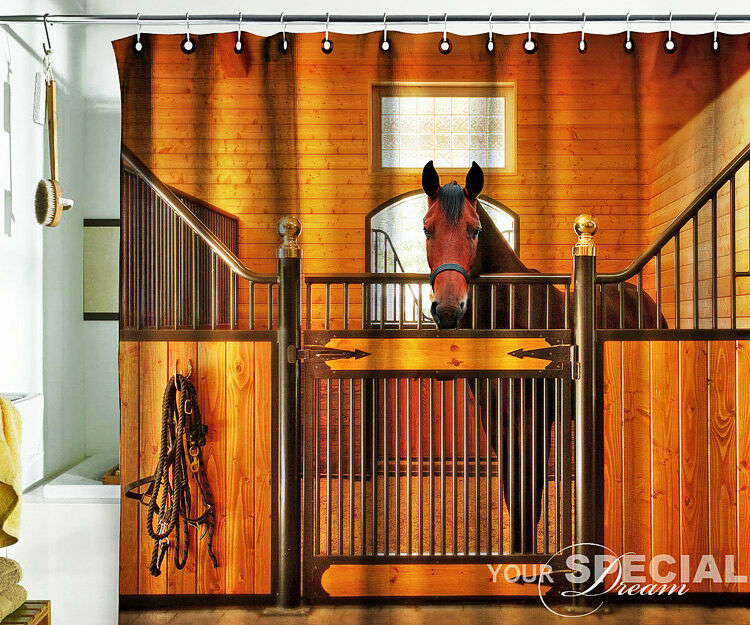 Bath Shower Fabric Curtain Curtain Curtain horse stable stabling barn cowboy unique design 57x75 3f2580