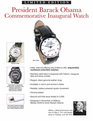 by Micky Orloff FEMALE Authentic 2008 Commemorative Obama Inauguration Watch