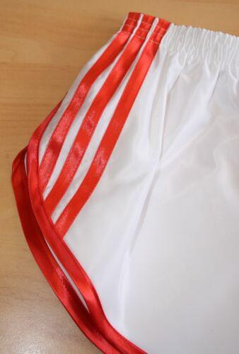 righe 4xl e di Sprinter in nylon bianco retrò S a raso a rosso Shorts 8pC4R