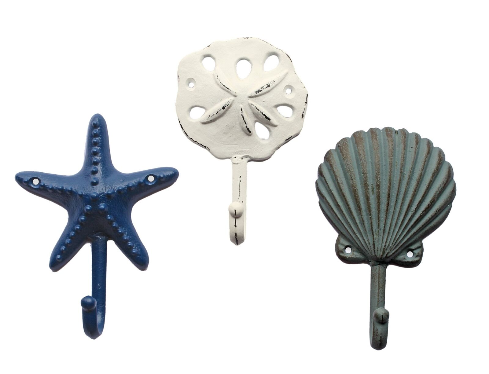 Sea Treasures Wall Hooks - Set of 3 - Antique Weathered Hangers for Coats,